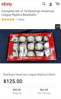 American League Collector's Baseballs - NEW Lansing