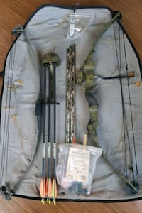 Compound bows (2) + 12 Arrows + camouflage bow case