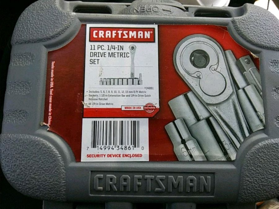 Photo Craftsman 11pc metric 1/4 drive socket set with extension and ratchet.