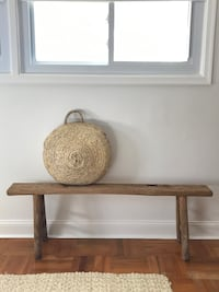 Vintage Antique Natural Elm Wood Chinese Bench Rustic Wilmington, 19803