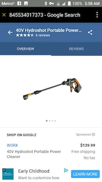 orange and black Hydroshot portable power cleaner screenshot Silver Springs, 34488