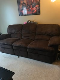 Brown suede couch good condition Apple Valley, 55124