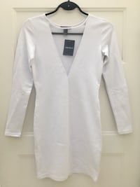 White long sleeve mini dress with mesh front Burnaby, V5C 6T6