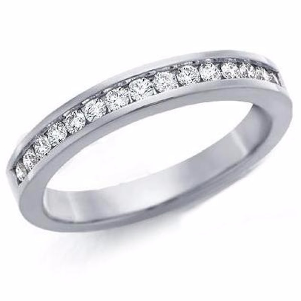 1ct Round Brilliant Eternity Wedding Anniversary Bridal Engagement Sterling Silver Ring Band