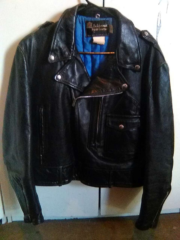 a8a9b104e520 Used Oakbrook Vintage black leather motorcycle jacket for sale in Mesa -  letgo