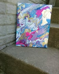 blue, pink, and yellow abstract painting Waldorf, 20603