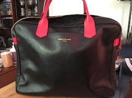 Longchamp leather work bag with red leather handles