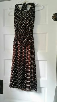 Brown and ivory polka-dotted halter