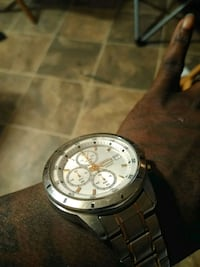 round silver chronograph watch with silver link bracelet Greenville County, 29661