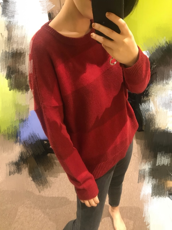 6d0dacc1d5a Used Women s red striped sweater My heigh weight  155cm 50kg for ...