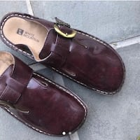 brown maroon leather clogs