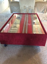 red and brown wooden table