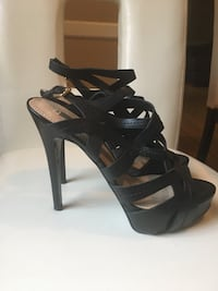 GUESS - Pair of black leather open toe ankle strap pumps Toronto, M6E 2X5