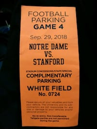 ND VS STANFORD PARKING PASS South Bend, 46619