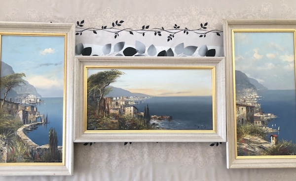 "JOSEF KUGLER SEN,Original oil painting by famous German artists , peaceful  waterfront,Fishing village,28""x16"" I will sell those all together or"