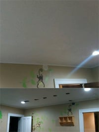 Drywall repair/ plaster, paint, epoxy floor.