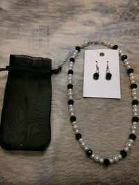 Earrings and necklace set with bag