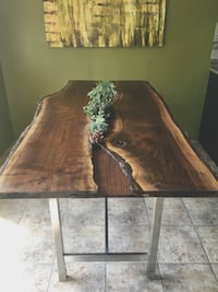 Custom Live Edge Dining Table With Succulents/Herbs Kitchener