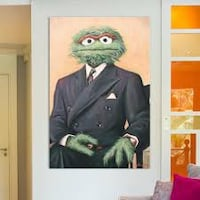 Sir Oscar Grouch Canvas Painting Art EXCELLENT CONDITION RARE PIECE  Washington, 20001