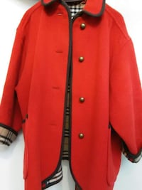 red Burberry 4-buttoned collared long-sleeved top