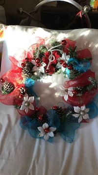 red and blue floral wreath