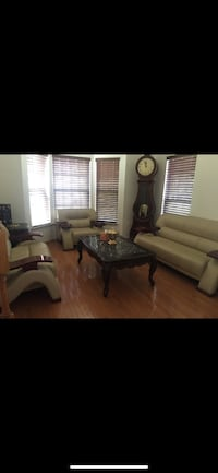Sofa set leather and 1 coffee table 2 side tables sofa almost brand new light used Bethesda, 20816