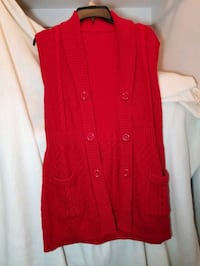 Women's size M red sweater sleeveless, long  vest, see both photos