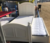 white wooden bed frame with white mattress Bakersfield, 93307