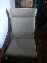 brown wooden framed white padded armchair Burnaby, V5A 1S6