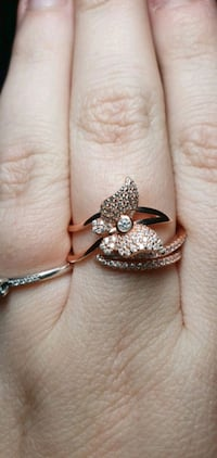 Rose Gold Plated Butterfly Ring (Size 8)