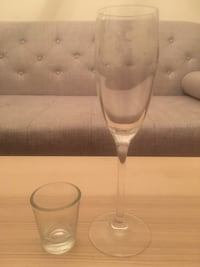 Floral champagne glass and shot glass