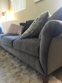 Gray fabric 3-seat sofa and oversized chair
