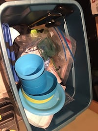 Large box of assorted camping equipment  3748 km