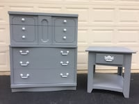 Bassett Furniture Solid Wood Tallboy Dresser With Nightstand Gray with White Handles Manassas, 20112