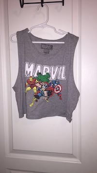 Gray crop top with Marvel Avengers print