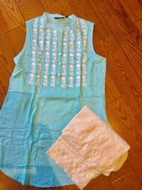 beautiful sky blue colour short kurti embroidery TOP/dress/size medium Toronto, M4C