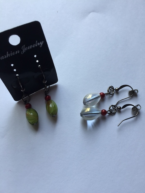 pair of green and silver earrings
