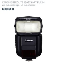 Canon 430EX III RT Flash BRAND NEW Vaughan, L4K 0H8