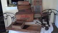 Antique 19th century Shaker tools and 1930s wooden food storage boxes. Washington