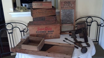 Antique 19th century Shaker tools and household items.