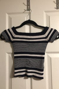 Blue and white striped off the shoulder top Ottawa, K1R