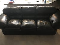 Black leather 3-seat sofa Orlando, 32801