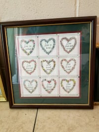 square black framed floral heart painting