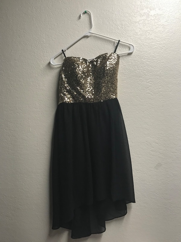 Used Womens Black And Gold High Low Strapless Dress For Sale In