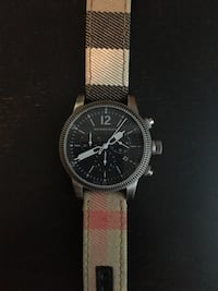 Burberry Gun Metal Dial Check Fabric Watch Milton