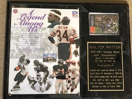 Walter Payton plaque with signed football card