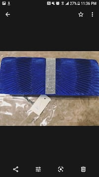Brand new blue clutch purse with rhinestones
