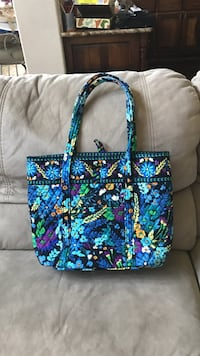 blue floral print quilted tote bag Austin, 78733
