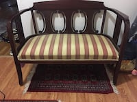 brown wooden framed brown and white stripe padded sofa Potomac, 20854