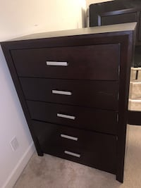 Queen size headboard and bed frame. Chest drawer and night stand Alexandria